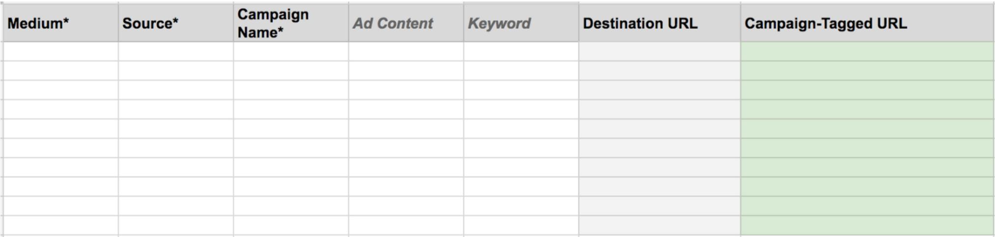 Google url builder spreadsheet