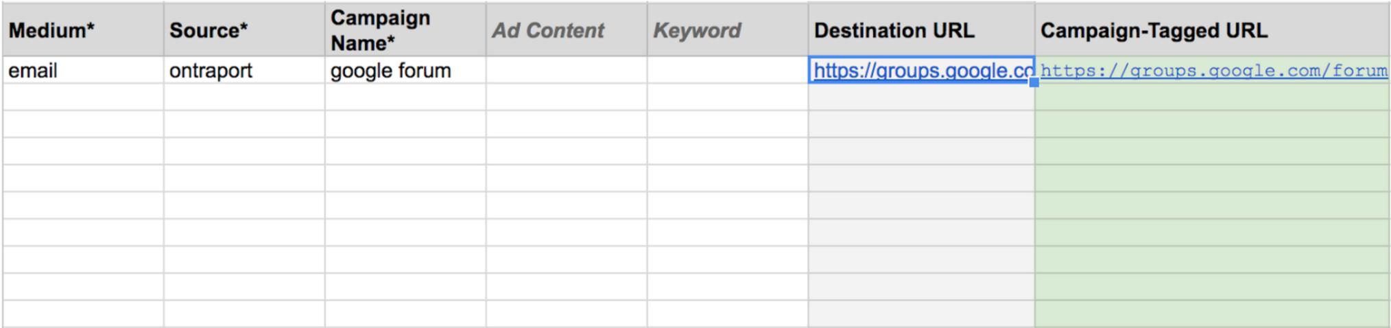 Google url builder spreadsheer sample