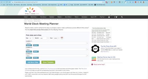 Planning Meetings World Clock